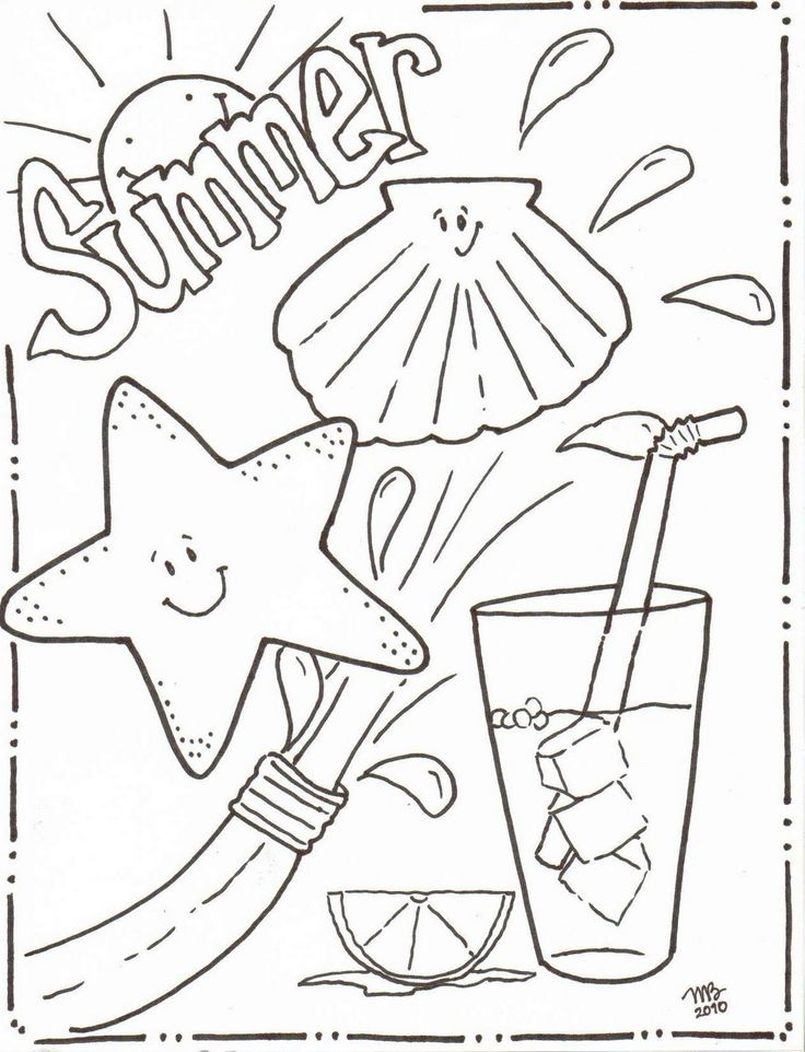 Summer Beach Fun Coloring Page