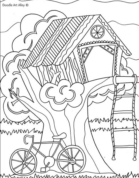 Tree House Coloring Sheets Coloring Pages Treehouse Coloring Pages