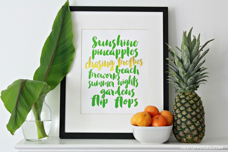 The perfect Summer printable!  Free download in 8x10 or 11x14.  2 color options available