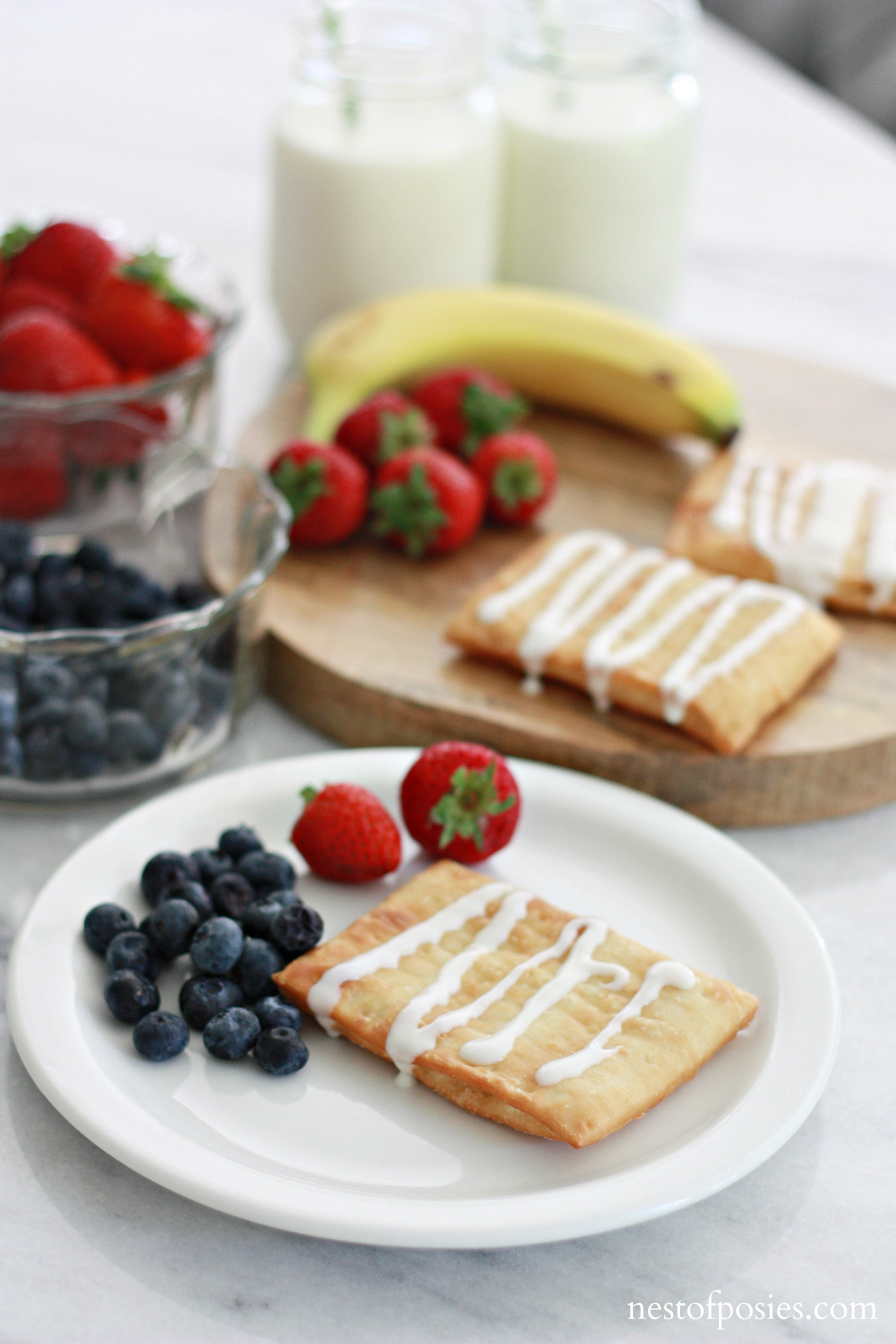 After School Snack Idea. Protein, fruit and a little sweetness goes a long ways.