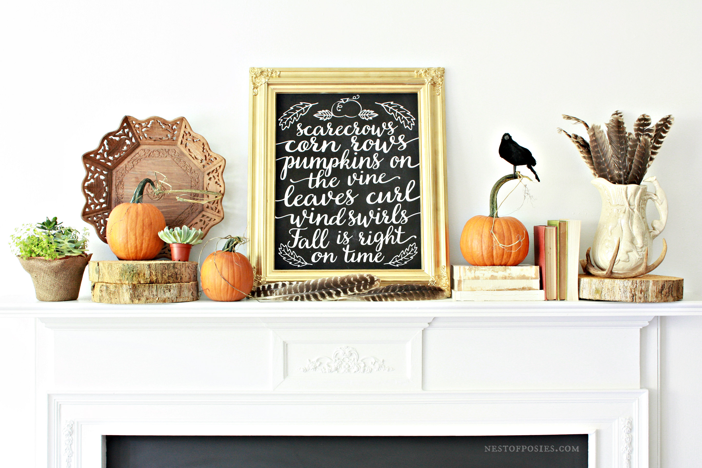All things Natural and Fall Mantel Display