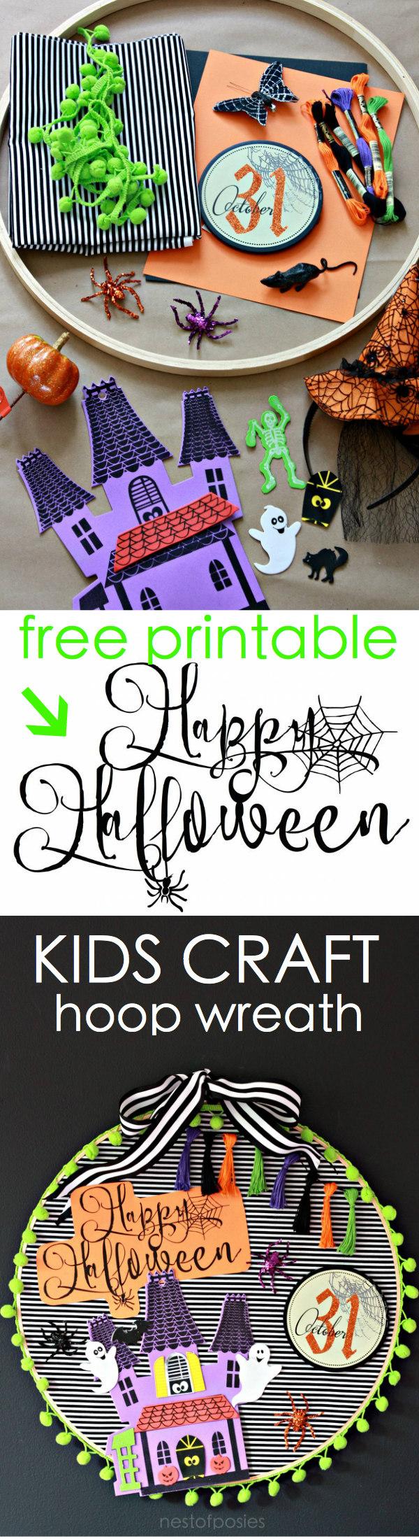 Kids Halloween Craft with free printable. Halloween Hoop Wreath
