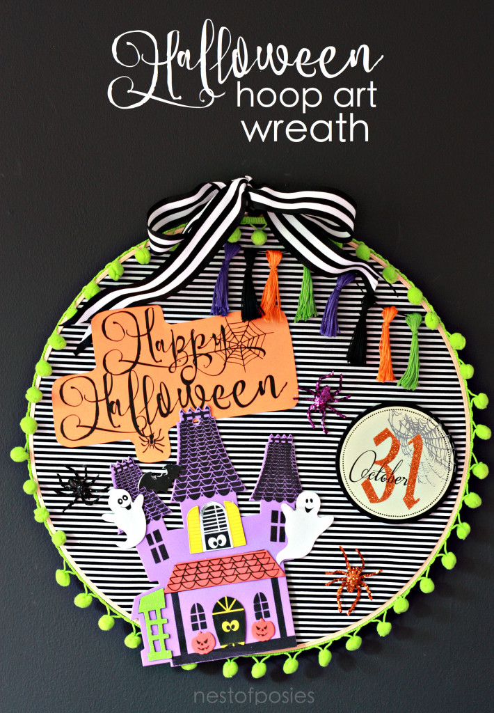 Kids Halloween Craft. Halloween Hoop Art Wreath