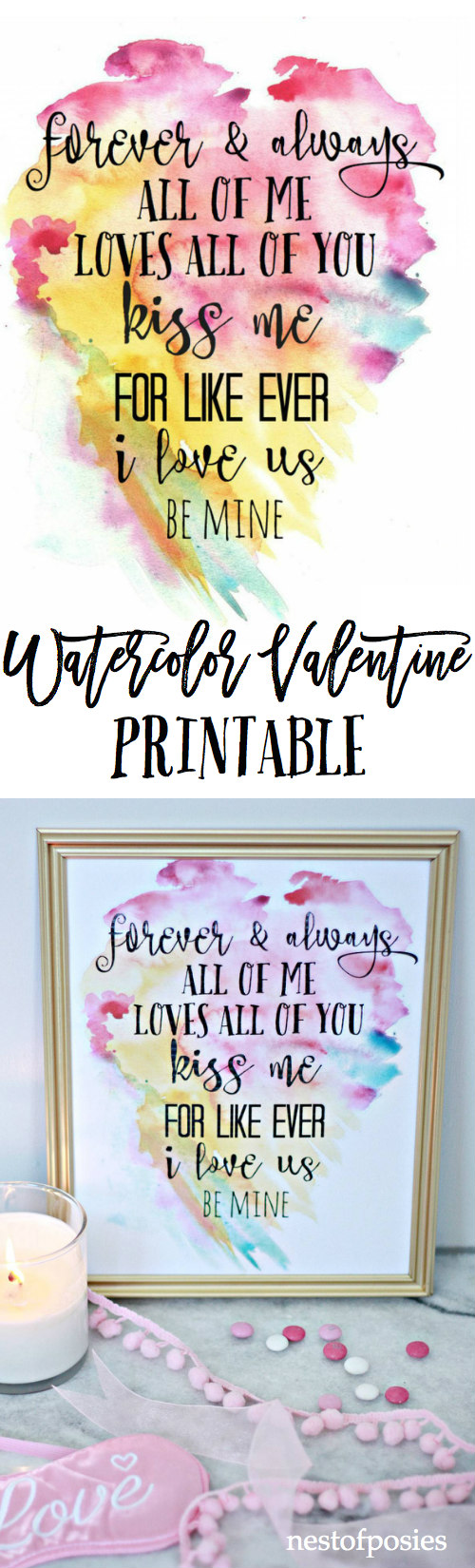 Watercolor Valentine Printable. Perfect for home decor or to use as a card