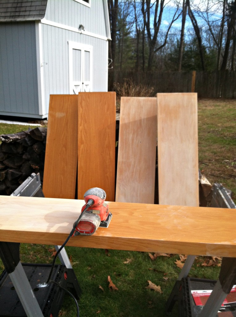 DIY Farmhouse Shelves before