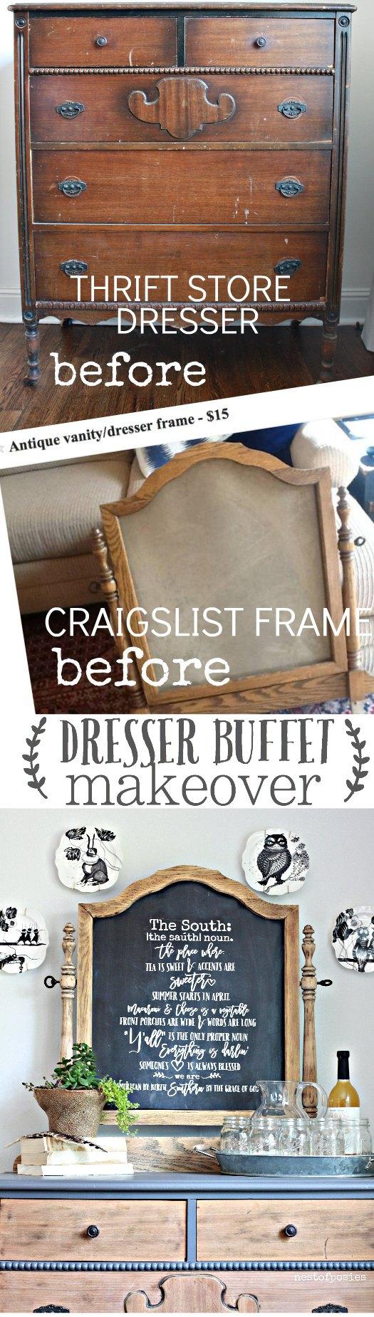 Chalkboard Dresser Buffet - Thrifty under $50!