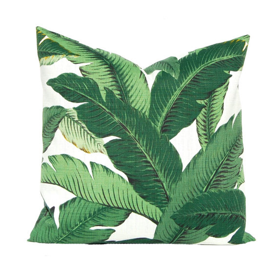 Palm Leaf Banana Pillow Cover