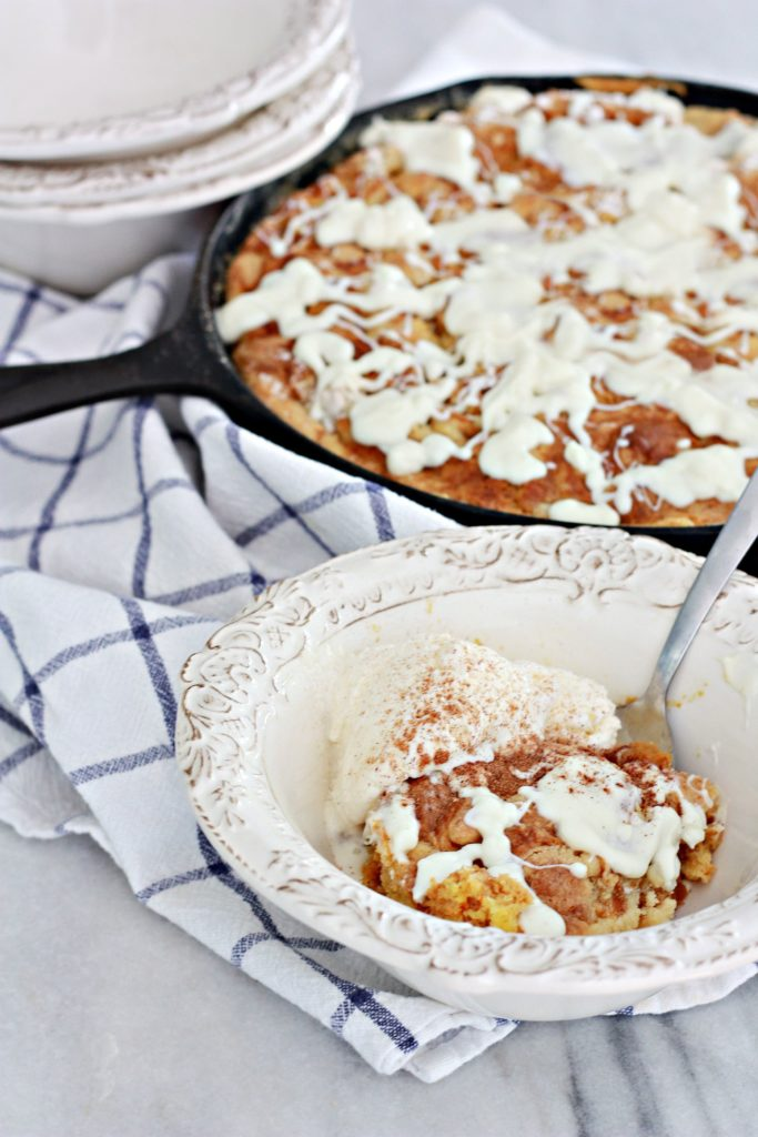 Pumpkin White Chocolate Skillet Dump Cake