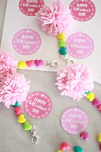 GALentine Pom Pom Key Chains and Printable Tags