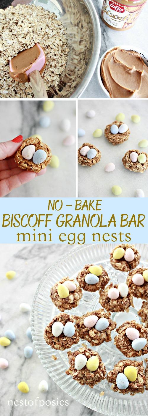No Bake Biscoff Granola Bar Egg Nests
